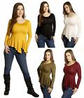 SML PEPLUM Rayon Slim Fitted Long sleeve Evening Stretch Casual Tee Shirt Top