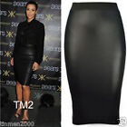 Ladies Pencil Wiggle Celebrity High Waisted Wet Look Faux Midi Skirt 8-14