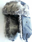 MEN'S WOMEN'S LEATHER LOOK USHANKA COSSACK TRAPPER SKI WINTER HAT 59 . 60CM