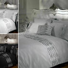 Luxury Crystal Diamante Duvet Cover - Pintuck Contemporary Bedding Bed Set