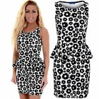 Women's Floral Emboss Sexy Fitted Sleeveless Bodycon Ladies Peplum Dress
