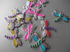 4 X MIXED COLOUR DRAGONFLY ENAMEL CHARMS,GOOD FOR JEWELLERY MAKING
