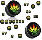 New Novelty Black Acrylic Ear Tunnel Plug with Jamaican Colours Weed Ganja Leaf