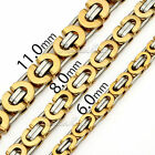 6/8/11mm Gold Silver Flat Byzantine Stainless Steel Necklace Mens Chain 18-36''