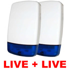 2 x Intruder Burglar Alarm Live Bell Box External Sounder Siren - TWIN PACK