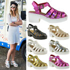 WOMENS LADIES GLADIATOR CUT OUT PUNK SANDALS CHUNKY BLOCK HEEL STRAPPY SIZE