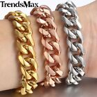 13MM Mens Chain Boy Silver Rose Gold Tone Stainless Steel Curb Link Bracelet HOT