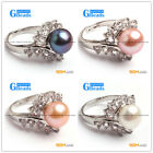 Fsahion White Gold Plated With Rhinestone 9-10mm Freshwater Pearl Rings 4 Colors