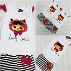 Girls Lovely Kitty Summer Dress Pink/Reds Outfit Top Short Bottom Set 1-4 Years