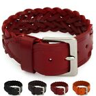 25mm Punk Mens Womens Unisex Braided Weave Wavy Faux Leather Bracelet Wristband