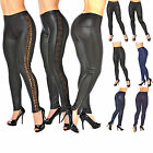Leggings schwarz Leder Lack Matt Uni leopard Jeans optik spitze Jeggings leggins