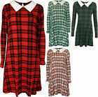 New Womens Plus Size Tartan Check Collar Ladies Long Sleeve Swing Dress 14 - 28