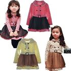 Spring Princess Girls Clothes Kids Dress Long Sleeve Belt Dot SZ2-7Y Tulle Skirt