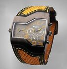 9013 OULM 5 Colors Alligator Pattern Military Dual Time Mens Sports Wrist Watch