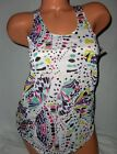 Womens Lost White & Multi~Colored Racer Back Tank Top Small New