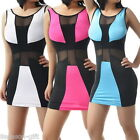 New Women Stitching Colour Mesh See Through Party Club Bodycon Dress M2413
