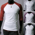 UK Long sleeve raglan Sports Run Mens T-shirt Tee top shirt Casual Shirt 3Colors