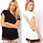 Sexy Fashion Women's Summer T-Shirt Lazer Cut Angel Wings Crew Neck Casual Tops