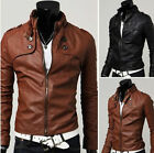 Sexy Mens Slim Fit Top Designed Stand Collar PU Leather Zip Short Jacket Coat
