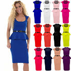 Women's Knee Length Pencil Frill Belted Peplum Skirt Ladies Bodycon Dress 8-14