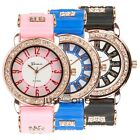 New Luxury Women Girl Rhinestone Golden Soft Silicone Strap Glitter Wrist Watch