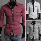 Men Slim Stylish Long Sleeve Stand Collar Foraml Shirts Outdoor Casual Shirts
