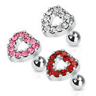 New Surgical Steel Multi Gem Heart Tragus Cartilage Bar Stud Pink Clear Red 16g