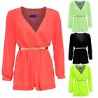 Women's Chiffon Belted Long Sleeve V Neck Wrap Front Ladies Shorts Playsuit