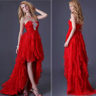 Elegant Red Layered Graduation Prom Bridesmaid Bridal Party Gown Evening Dresses