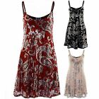 Ladies Sleeveless Shiny Sequin Paisley Lined Flare Skater Party Women's Dress
