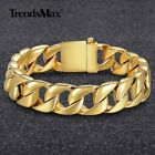 15mm Heavy Gold Tone Curb Link Mens Chain Boys 316L Stainless Steel Bracelet HOT