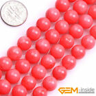 Natural Round Pink Coral Jewelry Making loose gemstone beads strand 15""