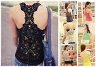 Women's Sexy Lace Flower Tank Top Black Cami Sleeveless Casual T-Shirt/Vest