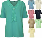 New Plus Size Womens Lace Scarf Knitted Ladies Short Sleeve Jumper Top 12 - 18