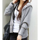 Hot Women Solid Batwing Sleeve Loose Hooded Sweater Fashion Zipper Cardigan Coat