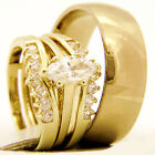 0.95 CT Marquise Cut CZ Solitaire Engagement Stainless Steel Wedding Rings Sets