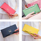 Fashion Women's Soft PU Leather New Clutch Wallet Long Card Purse Holder