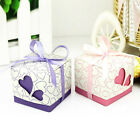 50/100pcs Love Heart  Cut Gift Candy Boxes Wedding Party Favor With Ribbon Gift