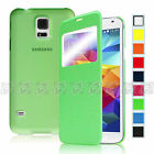 Luxury Window Flip PU Slim Leather Case Cover for Samsung Galaxy i9600 S5 SV