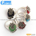 Fashion 16x28mm oval beads butterfly tibetan silver marcasite ring 8 materials