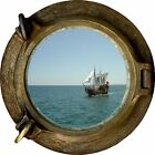 Huge 3D Porthole Pirate Ship Schooner View Wall Stickers Film Art Decal Wallpape