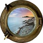 Huge 3D Porthole Red Sky Lake View Wall Stickers Film Mural Art Decal Wallpaper