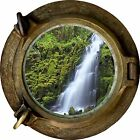Huge 3D Porthole waterfall View Wall Stickers Film Mural Art Decal Wallpaper