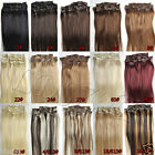 "NEW 15""18""20""22"" 7PCS Clip In Remy Human Hair Extensions Any Colors US Full Head"