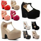 Ladies Womens Cut Out Wedges Platform Peep Toe Ankle Strap Sandals Block Shoes