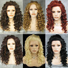 "20"" Heat Resistant Long Spiral Curly Black / Blonde / Brown Lace Front Wig"