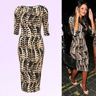 New Womens Celebrity Style Leopard Pencil Bodycon Sexy Party Dress SIZE XS S M L