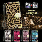 Leopard Diamond Flip Wallet Case Pouch for Samsung Galaxy S5 4G G900F G900I