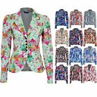 Women's Button Front Long Sleeve Floral Flower Print Ladies Summer Blazer Jacket