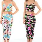 Women's 3/4 Party Leggings Ladies Neon Floral Flower Print Strappy Crop Top Set